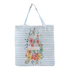 Watercolor Bouquet Floral White Grocery Tote Bag