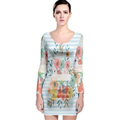 Watercolor Bouquet Floral White Long Sleeve Bodycon Dress