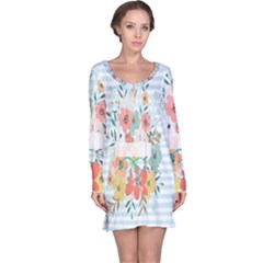 Watercolor Bouquet Floral White Long Sleeve Nightdress