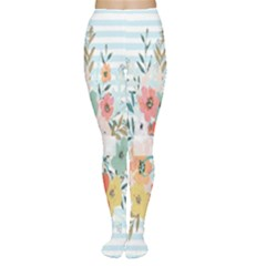 Watercolor Bouquet Floral White Women s Tights