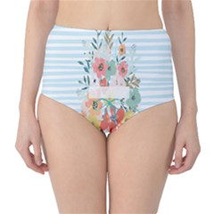 Watercolor Bouquet Floral White High Waist Bikini Bottoms