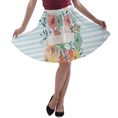 Watercolor Bouquet Floral White A Line Skater Skirt