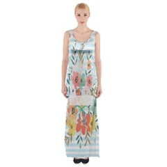 Watercolor Bouquet Floral White Maxi Thigh Split Dress