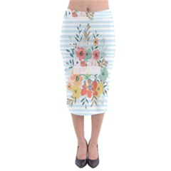 Watercolor Bouquet Floral White Midi Pencil Skirt