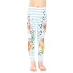 Watercolor Bouquet Floral White Kids  Legging