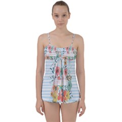 Watercolor Bouquet Floral White Babydoll Tankini Set