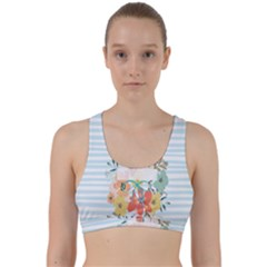 Watercolor Bouquet Floral White Back Weave Sports Bra
