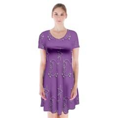 Pig Star Pattern Wallpaper Vector Short Sleeve V Neck Flare Dress