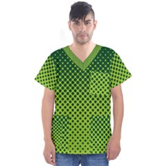 Halftone Circle Background Dot Men s V Neck Scrub Top