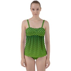 Halftone Circle Background Dot Twist Front Tankini Set