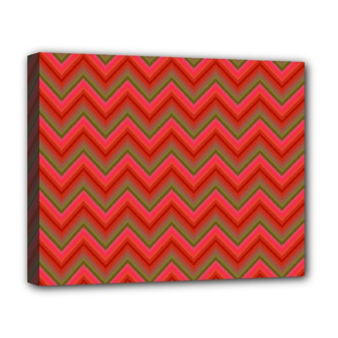 Background Retro Red Zigzag Deluxe Canvas 20  X 16