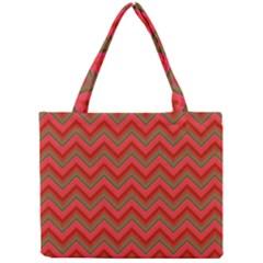 Background Retro Red Zigzag Mini Tote Bag