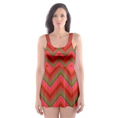 Background Retro Red Zigzag Skater Dress Swimsuit