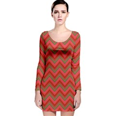 Background Retro Red Zigzag Long Sleeve Velvet Bodycon Dress