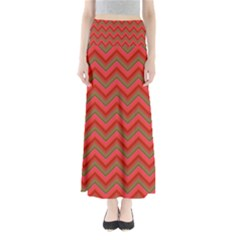 Background Retro Red Zigzag Full Length Maxi Skirt