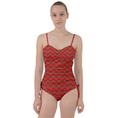 Background Retro Red Zigzag Sweetheart Tankini Set