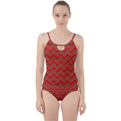 Background Retro Red Zigzag Cut Out Top Tankini Set