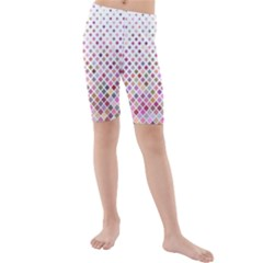 Pattern Square Background Diagonal Kids  Mid Length Swim Shorts