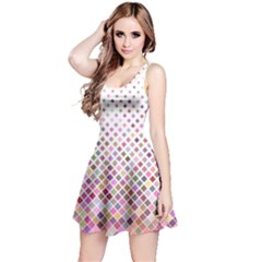 Pattern Square Background Diagonal Reversible Sleeveless Dress
