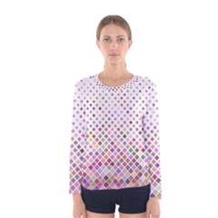 Pattern Square Background Diagonal Women s Long Sleeve Tee