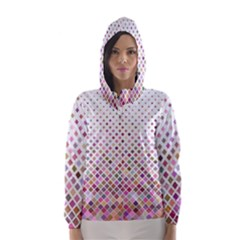 Pattern Square Background Diagonal Hooded Wind Breaker (women)
