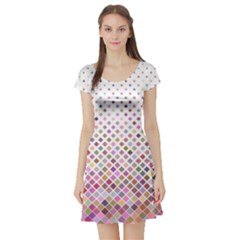 Pattern Square Background Diagonal Short Sleeve Skater Dress
