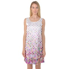 Pattern Square Background Diagonal Sleeveless Satin Nightdress
