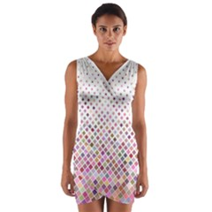 Pattern Square Background Diagonal Wrap Front Bodycon Dress