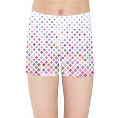 Pattern Square Background Diagonal Kids Sports Shorts