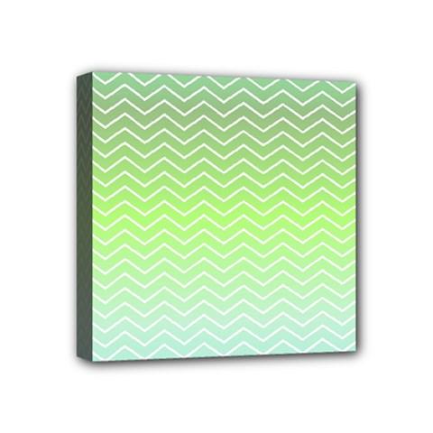 Green Line Zigzag Pattern Chevron Mini Canvas 4  X 4