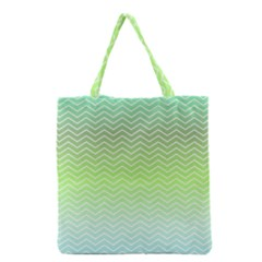 Green Line Zigzag Pattern Chevron Grocery Tote Bag