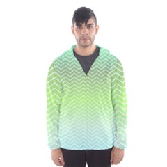 Green Line Zigzag Pattern Chevron Hooded Wind Breaker (men)