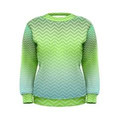 Green Line Zigzag Pattern Chevron Women s Sweatshirt