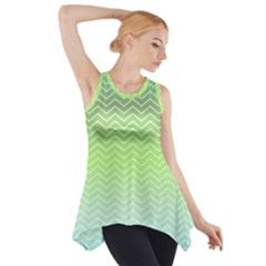 Green Line Zigzag Pattern Chevron Side Drop Tank Tunic