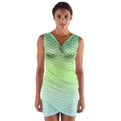 Green Line Zigzag Pattern Chevron Wrap Front Bodycon Dress