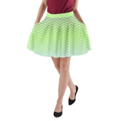 Green Line Zigzag Pattern Chevron A Line Pocket Skirt