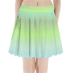 Green Line Zigzag Pattern Chevron Pleated Mini Skirt