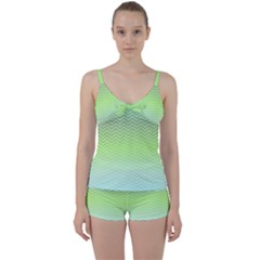 Green Line Zigzag Pattern Chevron Tie Front Two Piece Tankini