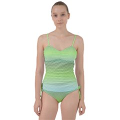 Green Line Zigzag Pattern Chevron Sweetheart Tankini Set