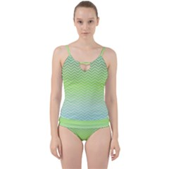 Green Line Zigzag Pattern Chevron Cut Out Top Tankini Set