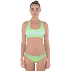 Green Line Zigzag Pattern Chevron Cross Back Hipster Bikini Set