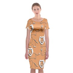 Lion Pattern Wallpaper Vector Classic Short Sleeve Midi Dress