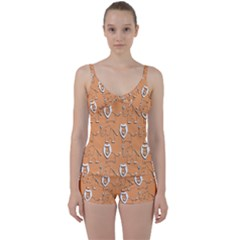 Lion Pattern Wallpaper Vector Tie Front Two Piece Tankini