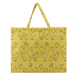 Chicken Chick Pattern Wallpaper Zipper Large Tote Bag