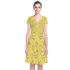 Chicken Chick Pattern Wallpaper Short Sleeve Front Wrap Dress