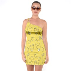 Chicken Chick Pattern Wallpaper One Soulder Bodycon Dress