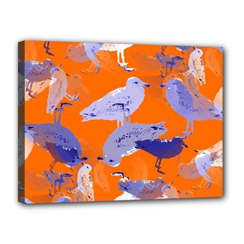 Seagull Gulls Coastal Bird Bird Canvas 16  X 12