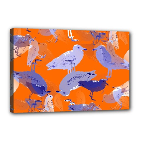 Seagull Gulls Coastal Bird Bird Canvas 18  X 12