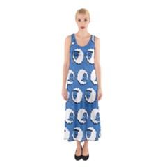Sheep Pattern Wallpaper Vector Sleeveless Maxi Dress