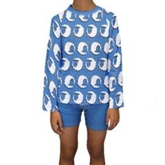 Sheep Pattern Wallpaper Vector Kids  Long Sleeve Swimwear